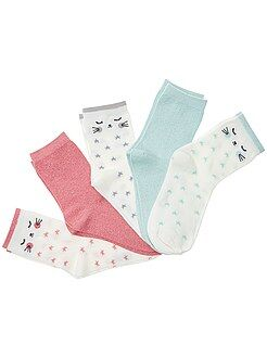 Collants, chaussettes - Lot de 5 paires de chaussettes avec fils brillants - Kiabi