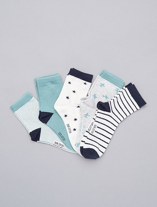 Lot de 5 paires de chaussettes                                                                                         bleu vert gris
