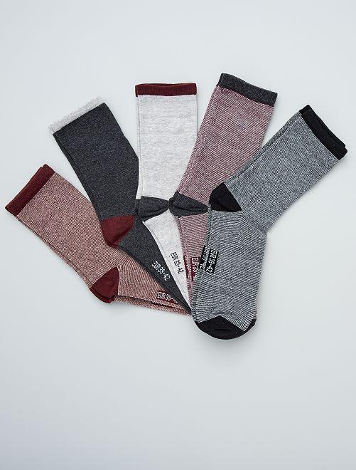 Lot de 5 paires de chaussettes                                                     bordeaux