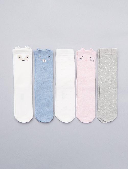 Lot de 5 paires de chaussettes                             chiné Fille
