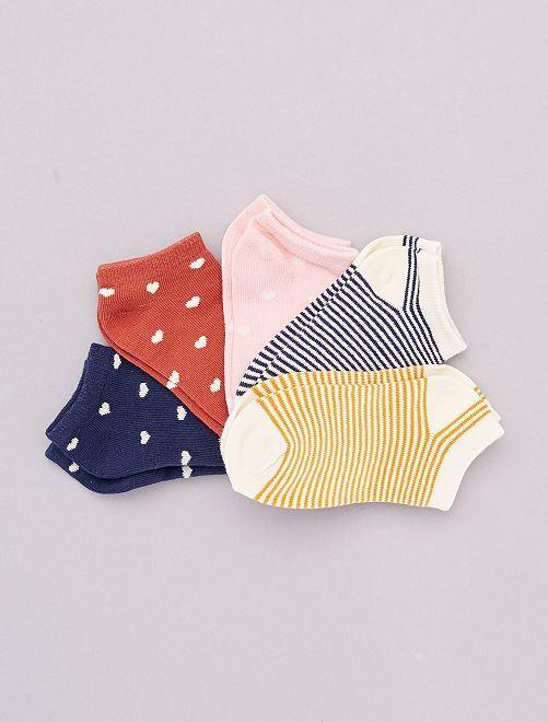 Lot de 5 paires de chaussettes 'cœur'                                         marine/rose/jaune