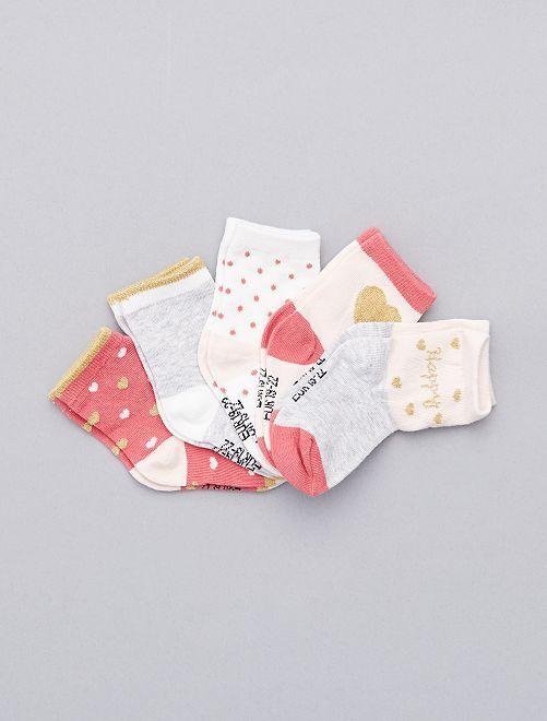 Lot de 5 paires de chaussettes 'coeurs'                             imprimé coeur Bébé fille