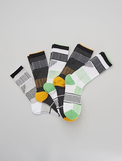 Lot de 5 paires de chaussettes de sport                                         jaune/vert