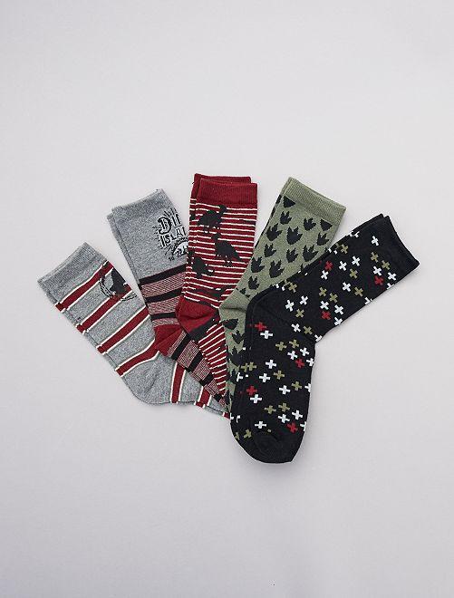 Lot de 5 paires de chaussettes 'dinosaures'                     rouge