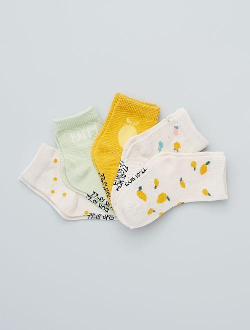 Lot de 5 paires de chaussettes éco-conçues                                                                                                                                                                 blc/vert/jne