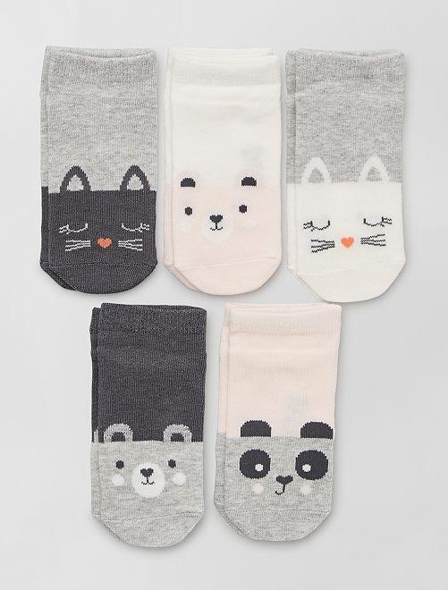 Lot de 5 paires de chaussettes éco-conçues                                                                                                     gris/blanc