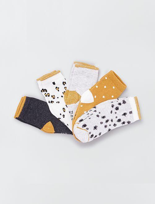 Lot de 5 paires de chaussettes éco-conçues                                                                                                                 jaune/gris