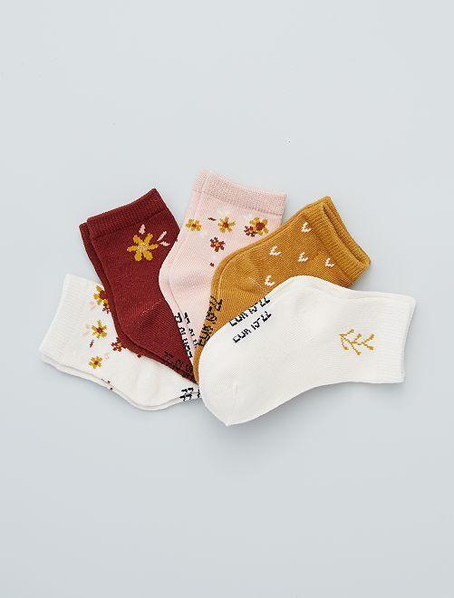 Lot de 5 paires de chaussettes éco-conçues                                                                                                                                         ocre/rose/brd