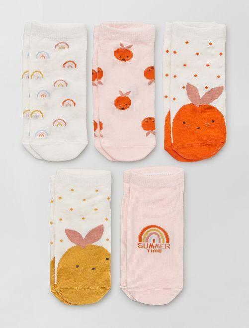Lot de 5 paires de chaussettes éco-conçues                                                                 rose/blanc