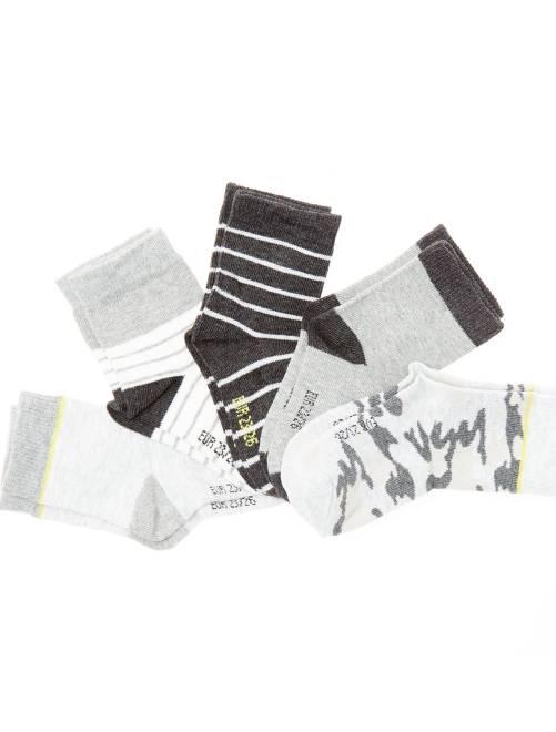 Lot de 5 paires de chaussettes en coton bio                             camouflage/rayures