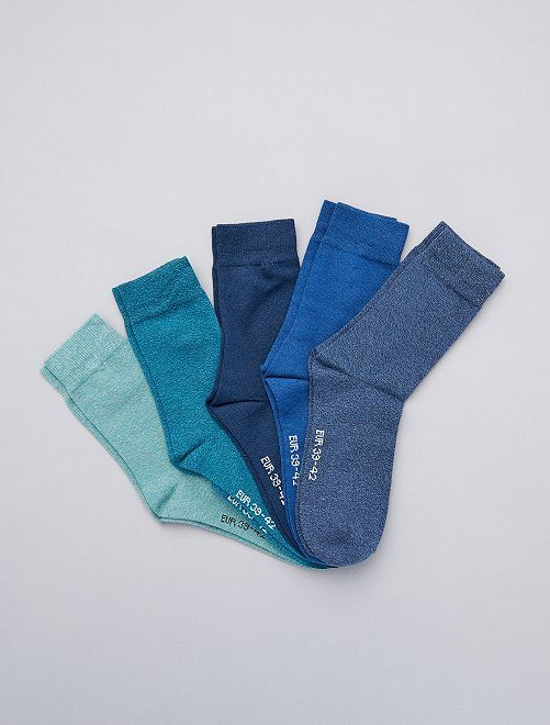 Lot de 5 paires de chaussettes en coton mouliné                                                     bleu vert