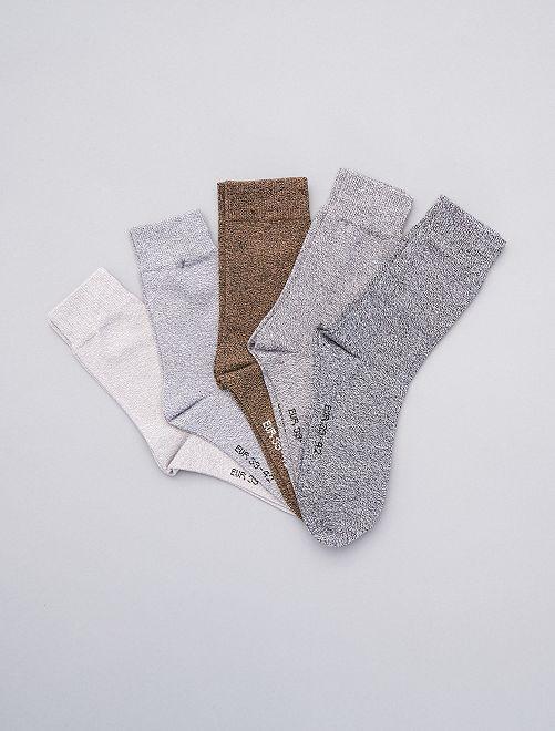 Lot de 5 paires de chaussettes en coton mouliné                                                     gris beige