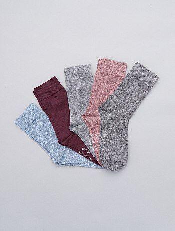 Lot de 5 paires de chaussettes en coton mouliné - Kiabi