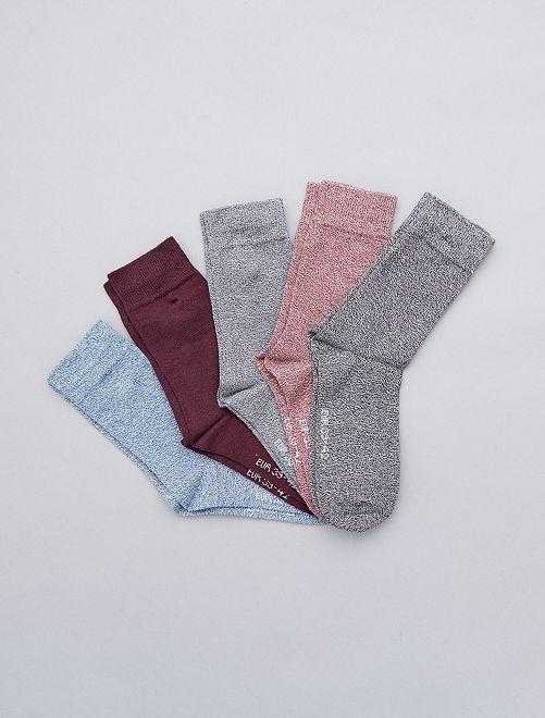 Lot de 5 paires de chaussettes en coton mouliné                             multicolor Grande taille homme