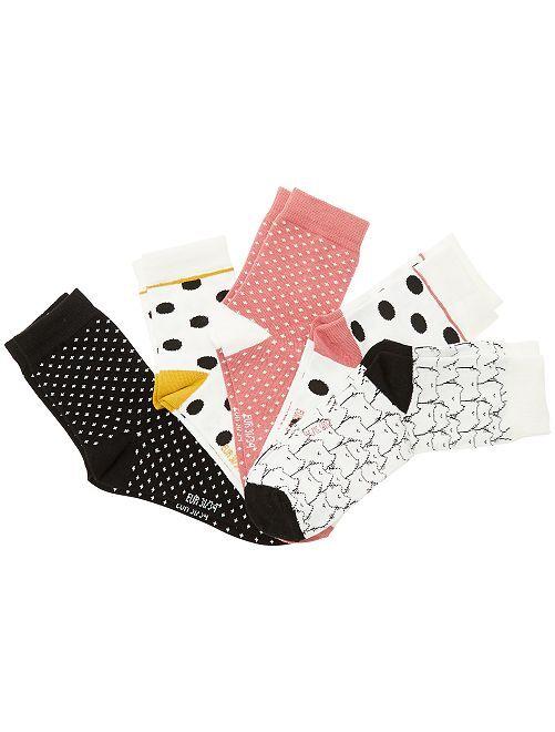 Lot de 5 paires de chaussettes fantaisie                             blanc