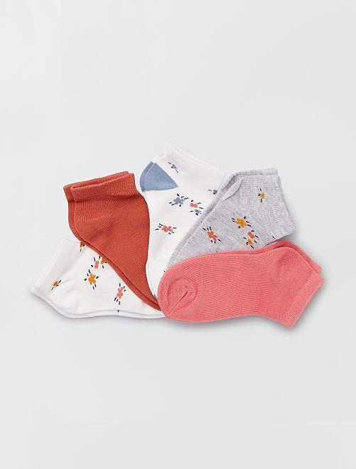 Lot de 5 paires de chaussettes 'fleuries'                                                                             fleurs