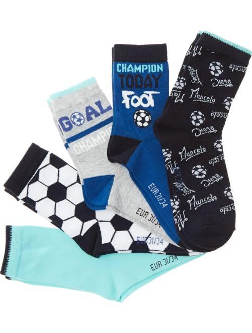 Lot de 5 paires de chaussettes 'Foot'                             bleu/gris Garçon