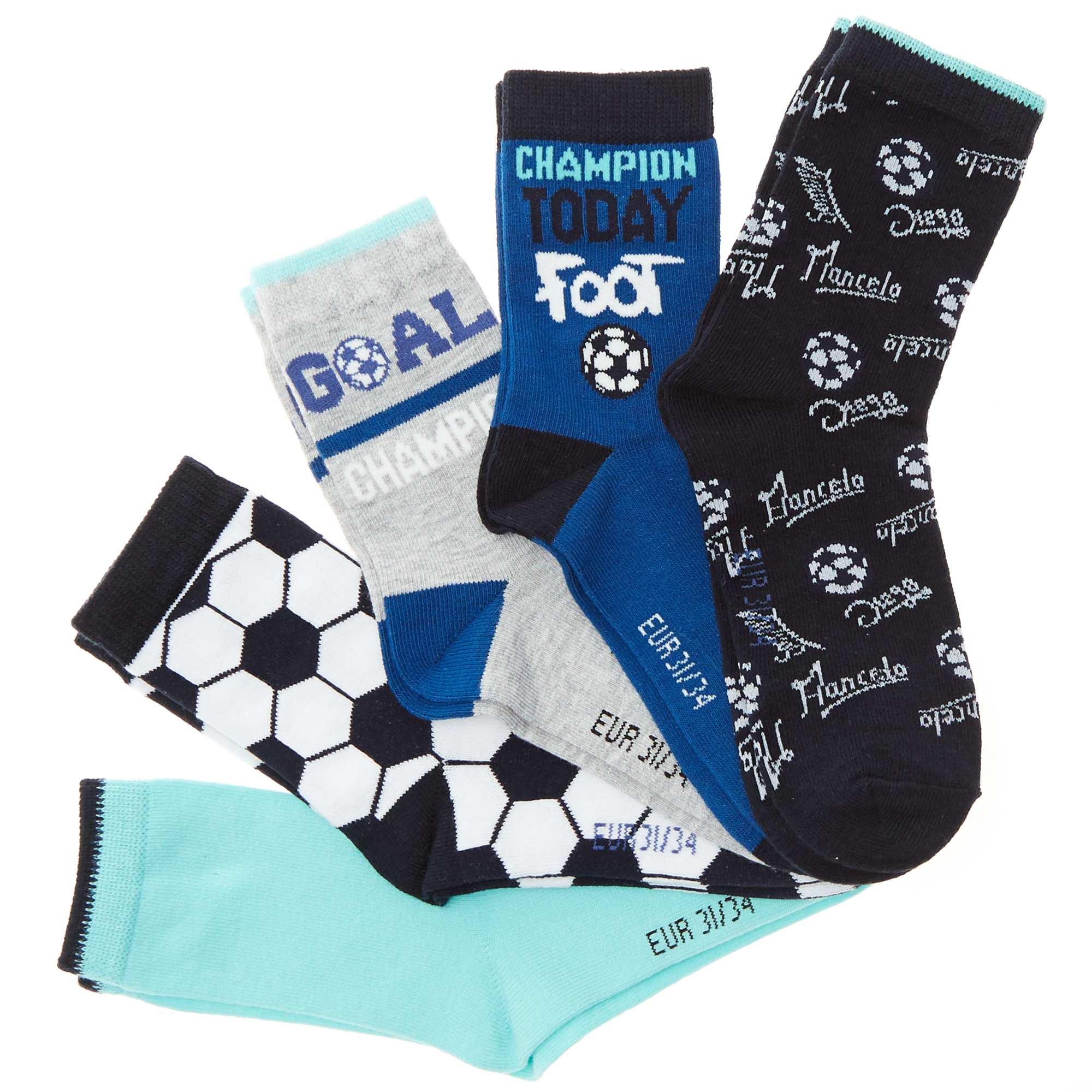 Couleur : bleu/gris, , ,, - Taille : 35/38, 23/26, ,,Lot de 5 paires de chaussettes 'Foot' - 2 paires imprimées all-over - 2 paires