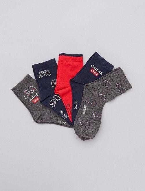 Lot de 5 paires de chaussettes                                                                                         gris/bleu/rouge
