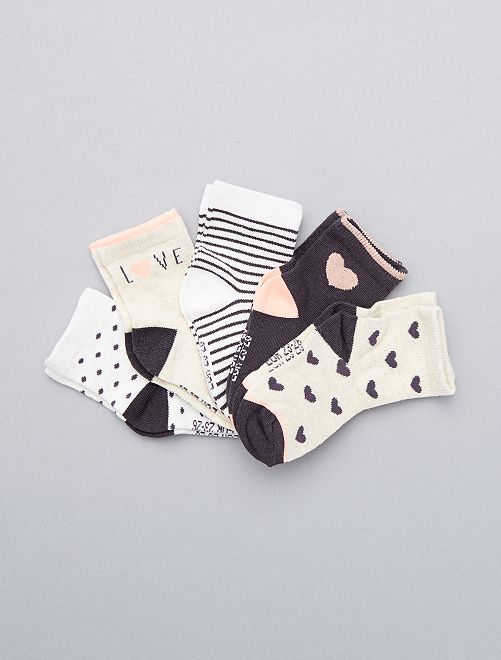 Lot de 5 paires de chaussettes Bébé fille - gris écru saumon - Kiabi - 6,00€ 9158ba30f28