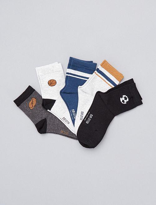 Lot de 5 paires de chaussettes                                                                                         gris/noir/bleu