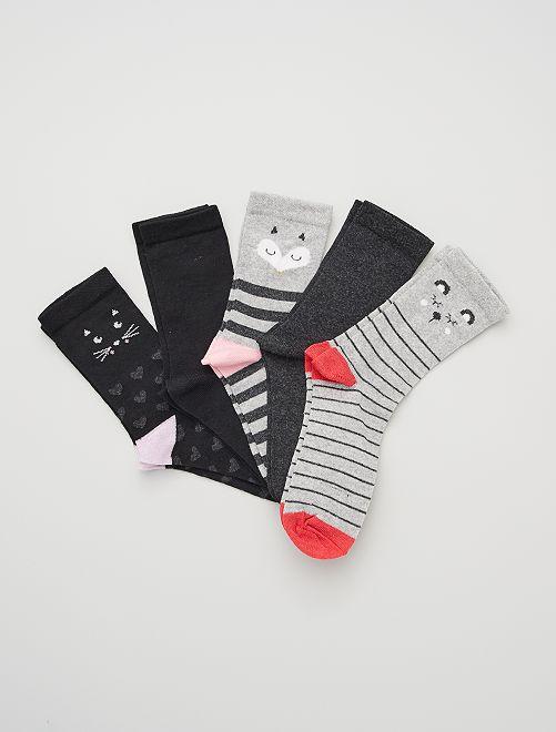 Lot de 5 paires de chaussettes                             gris/rose