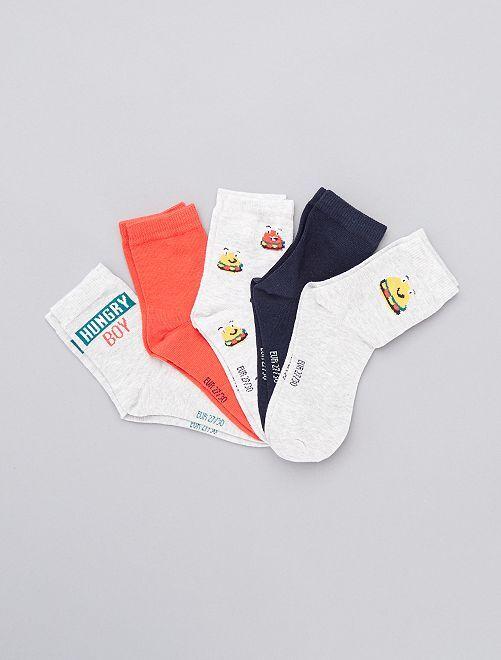 Lot de 5 paires de chaussettes                                                                                         gris/rouge/bleu
