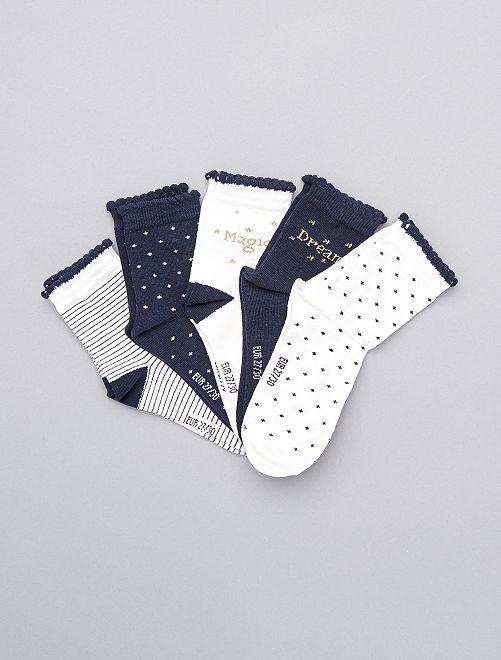 Lot de 5 paires de chaussettes hautes                             blanc bleu