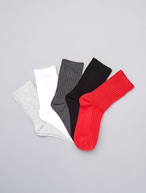 Lot de 5 paires de chaussettes hautes                                         noir gris blanc rouge