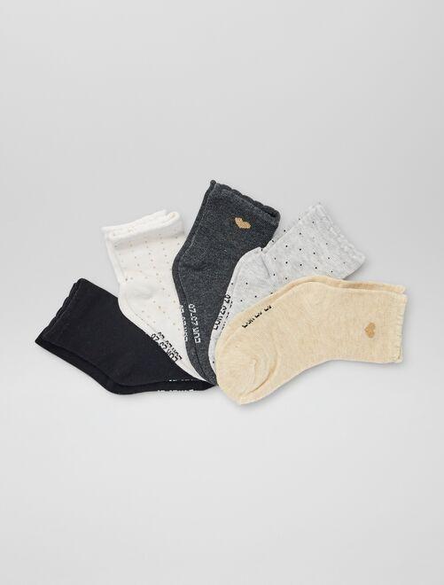 Lot de 5 paires de chaussettes imprimées                                                                 blanc