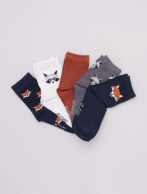 Lot de 5 paires de chaussettes imprimées                                                                 bleu/gris/marron