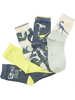 Chaussettes - Lot de 5 paires de chaussettes imprimées 'Dinosaures' - Kiabi