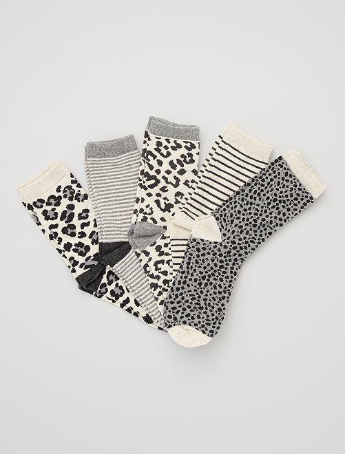 Lot de 5 paires de chaussettes imprimées                                         gris