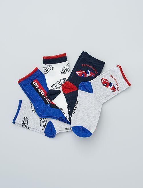 Lot de 5 paires de chaussettes imprimées                                                                                                     gris/bleu