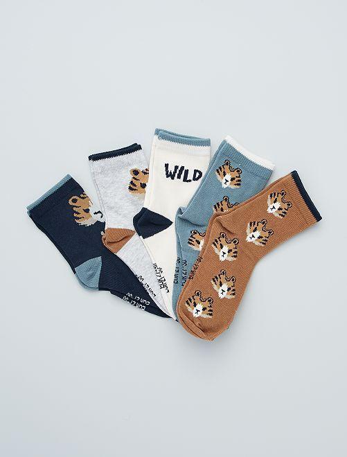 Lot de 5 paires de chaussettes imprimées                                                                                                     Marron/bleu