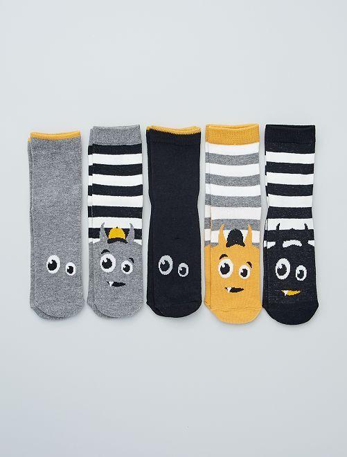 Lot de 5 paires de chaussettes imprimées                                                                                                     noir/gris/jaune