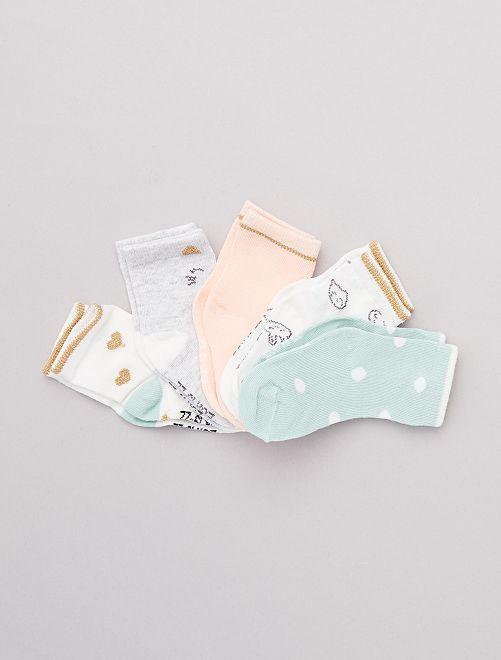 Lot de 5 paires de chaussettes imprimées                                             rose/vert/blanc