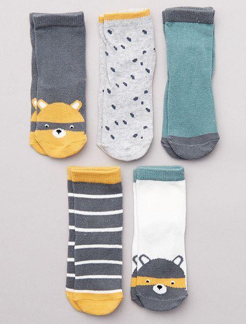 Lot de 5 paires de chaussettes imprimées                                                                 vert/gris/jaune