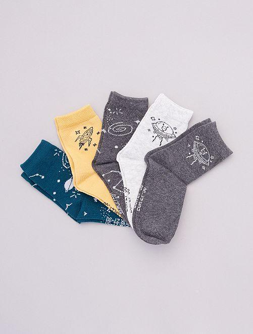 Lot de 5 paires de chaussettes imprimées                                                                 vert/jaune/gris