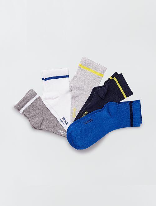 Lot de 5 paires de chaussettes invisibles                             noir bleu gris blanc