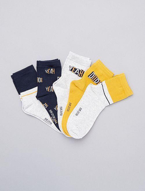 Lot de 5 paires de chaussettes                                                                                         jaune gris