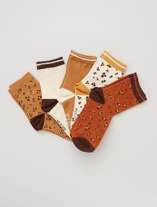 Lot de 5 paires de chaussettes 'léopard'                                                     marron léopard