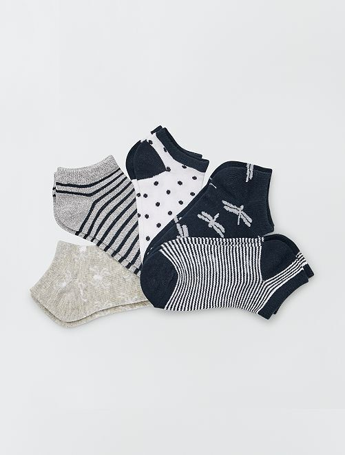 Lot de 5 paires de chaussettes                                         marine/gris