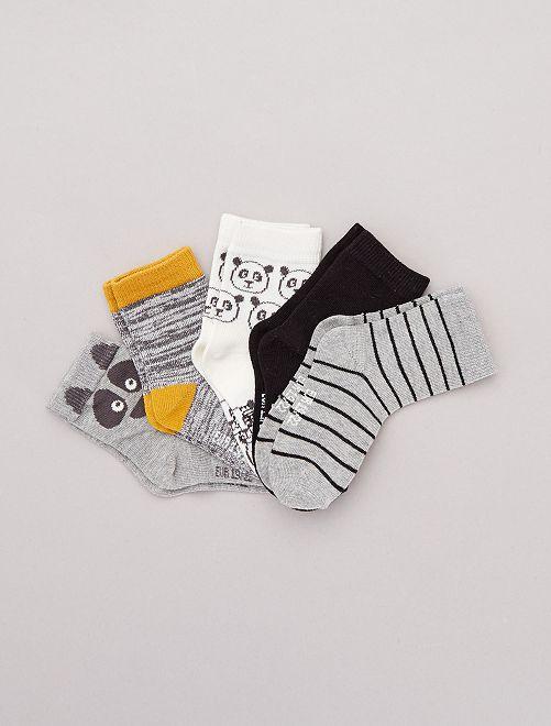 Lot de 5 paires de chaussettes motifs fantaisie                                                                              gris Panda Bébé garçon