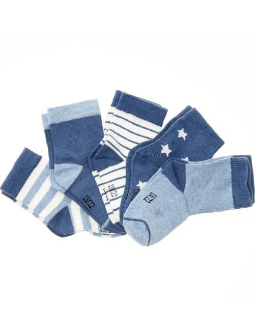 Lot de 5 paires de chaussettes motifs fantaisie                                                                              rayé bleu