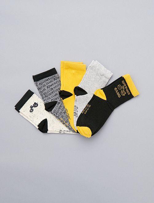 Lot de 5 paires de chaussettes 'moto'                             noir/jaune