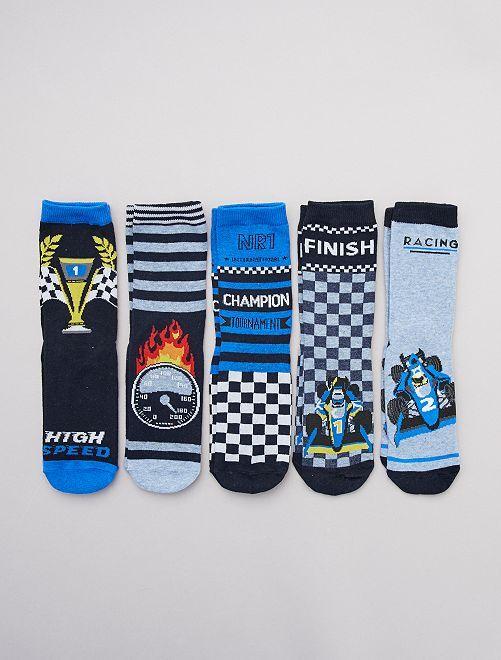 Lot de 5 paires de chaussettes 'rallye'                                         bleu