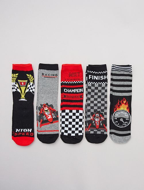 Lot de 5 paires de chaussettes 'rallye'                                         noir
