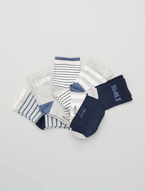 Lot de 5 paires de chaussettes                                                      rayé bleu