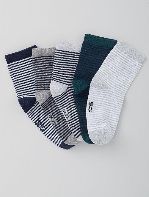 Lot de 5 paires de chaussettes                             rayure